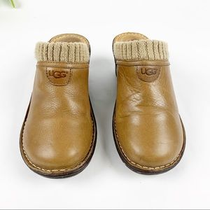 Ugg Gael Chestnut Leather Slide Mule Wedge Knit